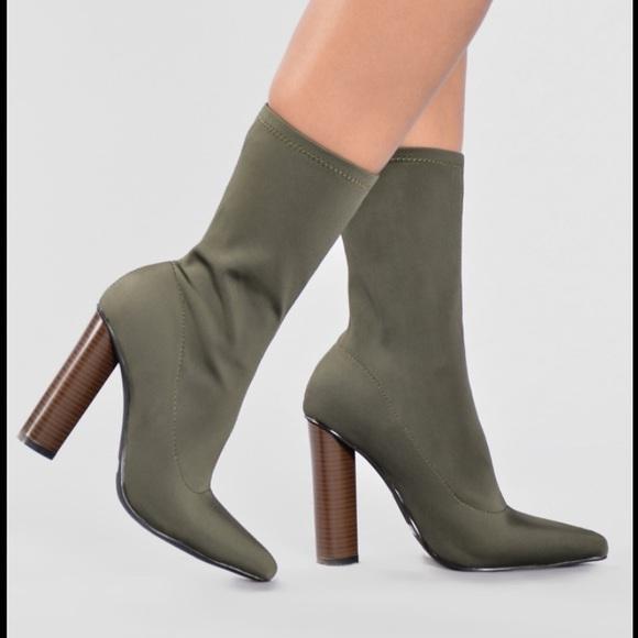 Fashion Nova Olive Green Ankle Boots